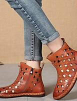 cheap -Women's Boots Summer / Fall Flat Heel Round Toe Vintage Daily Outdoor Rhinestone Faux Leather Booties / Ankle Boots Light Brown / Coffee