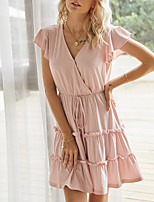 cheap -Women's A-Line Dress Short Mini Dress - Short Sleeves Solid Color Summer Work 2020 Blushing Pink Green Gray S M L XL