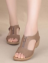 cheap -Women's Sandals Summer Wedge Heel Open Toe Daily PU Black / Khaki