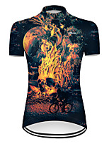 cheap -21Grams Women's Short Sleeve Cycling Jersey Nylon Polyester Black / Yellow 3D Novelty Skull Bike Jersey Top Mountain Bike MTB Road Bike Cycling Breathable Quick Dry Ultraviolet Resistant Sports