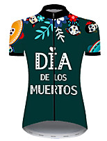 cheap -21Grams Women's Short Sleeve Cycling Jersey Nylon Polyester Green / Yellow Skull Floral Botanical Funny Bike Jersey Top Mountain Bike MTB Road Bike Cycling Breathable Quick Dry Ultraviolet Resistant