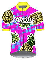 cheap -21Grams Men's Short Sleeve Cycling Jersey Nylon Polyester Pink+Green Fruit Pineapple Bike Jersey Top Mountain Bike MTB Road Bike Cycling Breathable Quick Dry Ultraviolet Resistant Sports Clothing
