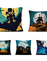 cheap -Set of 5 Halloween Party Linen Square Decorative Throw Pillow Cases Sofa Cushion Covers 18x18