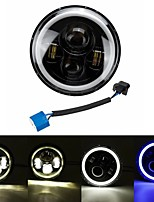 cheap -7inch Round LED Headlights Blue Halo Ring Angel Eyes For Jeep Wrangler JK TJ LJ CJ