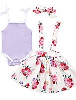 cheap -Baby Girls' Basic Floral Sleeveless Romper Purple