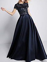 cheap -A-Line Elegant Sparkle Engagement Formal Evening Dress Jewel Neck Short Sleeve Sweep / Brush Train Satin with Sequin 2020