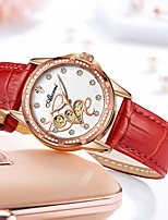cheap -Women's Quartz Watches Elegant Fashion Genuine Leather Quartz White Black Red Water Resistant / Waterproof Analog