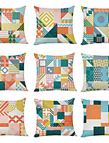 cheap -9 pcs Linen Pillow Cover, Geometric Pattern Geometic Casual Modern Square Traditional Classic
