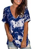 cheap -Women's T-shirt Tie Dye Tops V Neck Loose Daily Blue Purple Red S M L XL 2XL 3XL 4XL 5XL