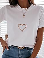 cheap -Women's T-shirt Floral Round Neck Tops White Black Gold
