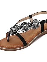 cheap -Women's Sandals Summer Flat Heel Open Toe Daily PU Almond / Black / Brown