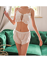 cheap -Women's Lace Backless Cut Out Suits Nightwear Jacquard Solid Colored White One-Size