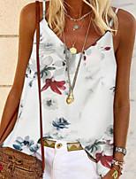 Недорогие -Жен. Блуза Цветочный принт Верхушки V-образный вырез Свободный силуэт Повседневные Белый Черный Красный S M L XL 2XL