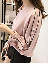 cheap -Women's T-shirt Solid Colored Tops Round Neck Daily White Blushing Pink M L XL 2XL 3XL 4XL 5XL