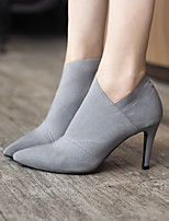 cheap -Women's Boots Spring / Fall Stiletto Heel Pointed Toe Daily Suede Mid-Calf Boots Black / Gray