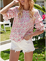 cheap -Women's Blouse Floral Tops - Ruffle Print Round Neck Elegant Daily Summer Fall Blushing Pink S M L XL
