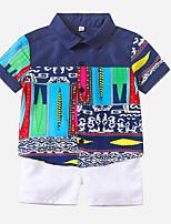cheap -Toddler Boys' Basic Print Short Sleeve Clothing Set Dusty Blue