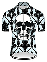 cheap -21Grams Men's Short Sleeve Cycling Jersey Nylon Polyester Black / Green Novelty Skull Floral Botanical Bike Jersey Top Mountain Bike MTB Road Bike Cycling Breathable Quick Dry Ultraviolet Resistant