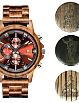 cheap -Men's Sport Watch Quartz Modern Style Stylish Wood Calendar / date / day Noctilucent Analog - Digital Casual Big Face - Golden / Brown Red+Brown Black