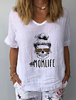 cheap -Women's T-shirt Letter V Neck Tops Summer White Yellow Navy Blue