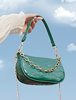 cheap -Women's Zipper PU Leather Crossbody Bag Leather Bag Solid Color White / Black / Green