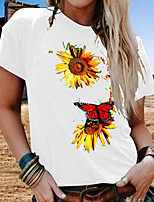 cheap -Women's T-shirt Floral Tops Round Neck Daily Summer White Black Red S M L XL 2XL 3XL 4XL