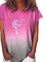 cheap -Women's T-shirt Floral Color Gradient Round Neck Tops Loose Summer Blue Purple Yellow