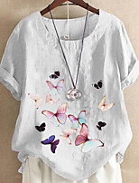 cheap -Women's Blouse Graphic Tops Round Neck Daily Summer White Purple Light Blue S M L XL 2XL 3XL 4XL 5XL