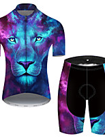 cheap -21Grams Men's Short Sleeve Cycling Jersey with Shorts Nylon Polyester Blue Gradient Animal Lion Bike Clothing Suit Breathable 3D Pad Quick Dry Ultraviolet Resistant Reflective Strips Sports Gradient