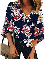 cheap -Women's T-shirt Floral Tops V Neck Daily Summer Navy Blue S M L XL 2XL 3XL 4XL