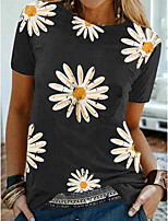 cheap -Women's T-shirt Floral Tops Round Neck Daily Summer Wine White Black S M L XL 2XL 3XL