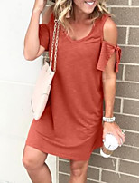 cheap -Women's T Shirt Dress Short Mini Dress - Short Sleeves Solid Color Summer Casual 2020 Black Orange Green Dusty Blue S M L XL