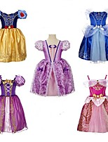 cheap -Princess Belle Elsa Dress Flower Girl Dress Girls' Movie Cosplay A-Line Slip Purple / Yellow / Light Purple Dress Halloween Children's Day Masquerade Polyester