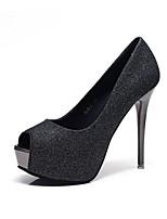 cheap -Women's Heels Summer Stiletto Heel Peep Toe Daily Synthetics Black / Silver