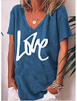 cheap -Women's T-shirt Letter V Neck Tops Loose Cotton Blue Green Light Green