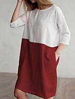 cheap -Women's Shift Dress Knee Length Dress - 3/4 Length Sleeve Color Block Summer Casual 2020 Wine Orange Navy Blue Gray Light Blue S M L XL XXL