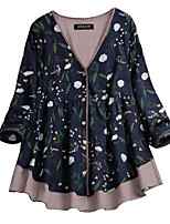 cheap -Women's Floral Blouse Daily Yellow / Green / Navy Blue