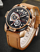 cheap -LIGE Men's Sport Watch Quartz Modern Style Stylish Leather Water Resistant / Waterproof Noctilucent Analog Casual Outdoor - Golden / Brown Black+Gloden Black