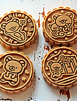 cheap -50 Gram Stereo Rose Flower Car Logo Cartoon Cake Mould Diy Baking Pastry Tools Kitchen Bakeware Hand Press Plastic Round Moon Cake Mold