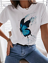 cheap -Women's T-shirt Graphic Prints Tops Round Neck 100% Cotton Basic Daily Summer White XS S M L XL 2XL