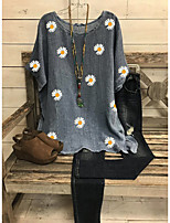 cheap -Women's Blouse Floral Daisy Tops - Print Round Neck Loose Basic Daily Summer Red Green Gray M L XL 2XL