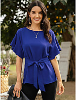 cheap -Women's Blouse Solid Colored Tops - Bow Lace up Round Neck Daily Summer Blue Red Green S M L XL