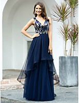 cheap -Ball Gown Sexy Sparkle Quinceanera Prom Dress V Neck Sleeveless Floor Length Tulle with Sequin Tier 2020