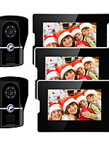 cheap -Wired 7 Inch Hands-free 800*480 Pixel Video Doorphone 2 Camera 3 Monitor Video Intercom Waterproof grade IP55