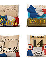 cheap -Set of 4 Decoration Home Cushion Cove Bastille Day pillow Sofa Covers 45Cmx45Cm Bed Printed Pillow Case