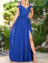 cheap -A-Line Empire Sexy Wedding Guest Prom Dress V Neck Short Sleeve Floor Length Chiffon with Pleats Split 2020