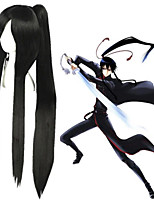 cheap -Cosplay Wig Kanda Yuu D.Grayman Straight Cosplay Asymmetrical With Bangs With Ponytail Wig Very Long Black Synthetic Hair 40 inch Men's Anime Cosplay Designers Black