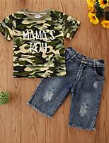 cheap -Baby Girls' Basic Print Short Sleeve Regular Regular Clothing Set Rainbow