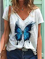 cheap -Women's T-shirt Animal Print V Neck Tops White
