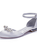 cheap -Women's Wedding Shoes Spring / Summer Flat Heel Round Toe Classic Sweet Wedding Party & Evening Imitation Pearl Solid Colored Satin White / Black / Purple